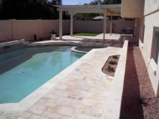 Arizona Backyard Landscape Paver Pool Deck