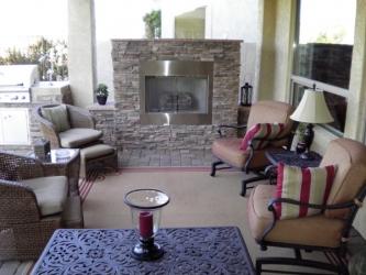 Arizona Backyard Design Outdoor Fireplace