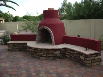 Arizona Backyard Outdoor Fireplace