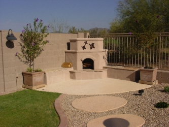 Phoenix Backyard Design Outdoor Fireplace