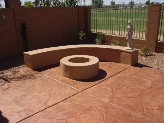 Arizona Backyard Landscape Firepit