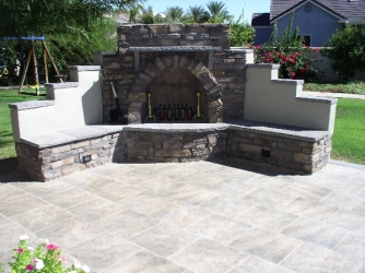 Patio Fireplace by Dream Retreats