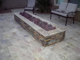 Arizona Backyard Landscape Patio Firepit