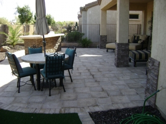 Arizona Backyard Design Travertine Paver Patio