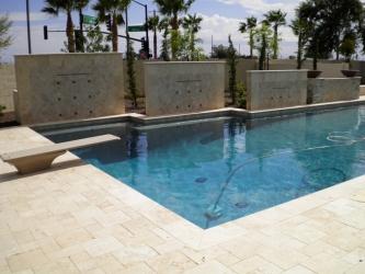 Arizona Landscape Design Travertine Pool Deck
