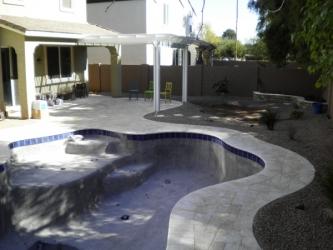 Arizona Backyard Design Travertine Pavers