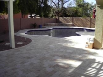 Arizona Backyard Travertine Paver Pool Deck