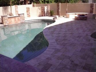 Phoenix Landscape Design Travertine Pool Deck