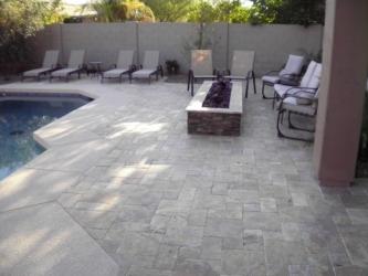 Arizona Backyard Landscape Paver Pool Deck