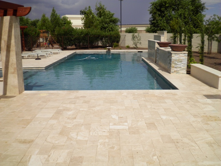 Gilbert Landscape Contractor Travertine Pool Deck