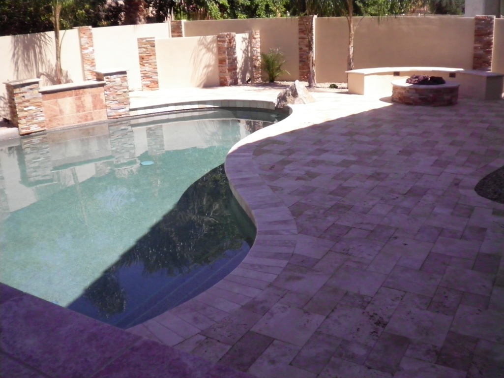 Phoenix Landscape Design Travertine Pool Deck