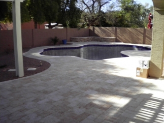 Arizona Backyard Travertine Paver Pool Deck