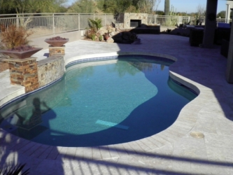 Gilbert Backyard Design Travertine Pool Deck