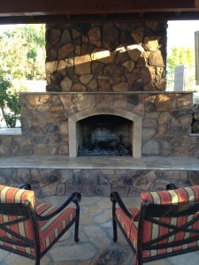 Arizona Backyard Landscape Fireplace