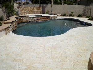 artistic landscape pavers: backyard landscaping in arizona -