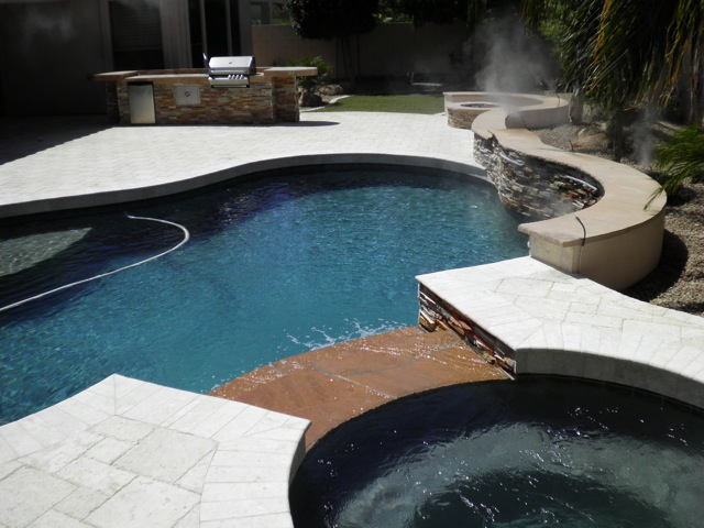artistic landscape pavers: backyard landscaping in arizona -