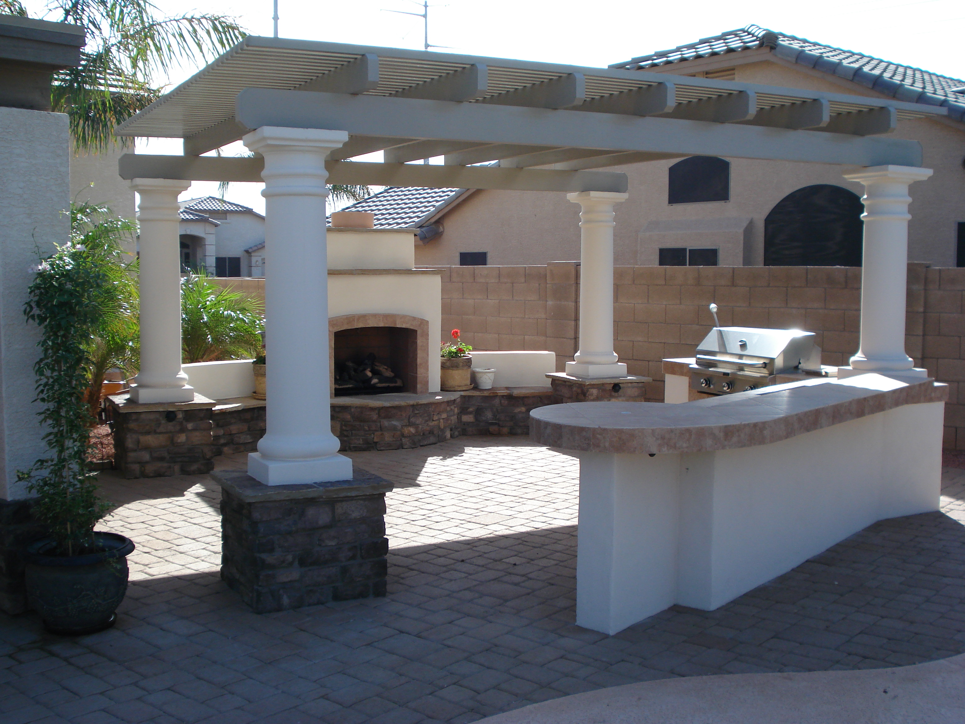 Custom trellis to match pergola landscapes by earth design - Dream Retreats Landsape Custom Pergola In Arizona