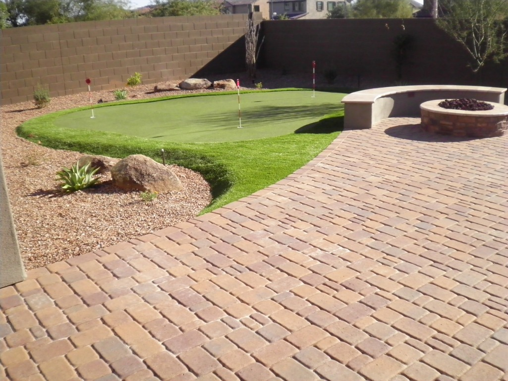 outdoor putting green and patio