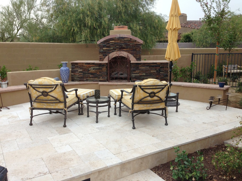 Scottsdale Backyard Landscape - Fireplace Renovation