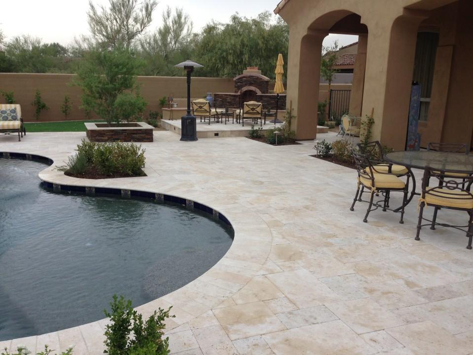 Scottsdale Backyard Landscape Renovation Paver Patios
