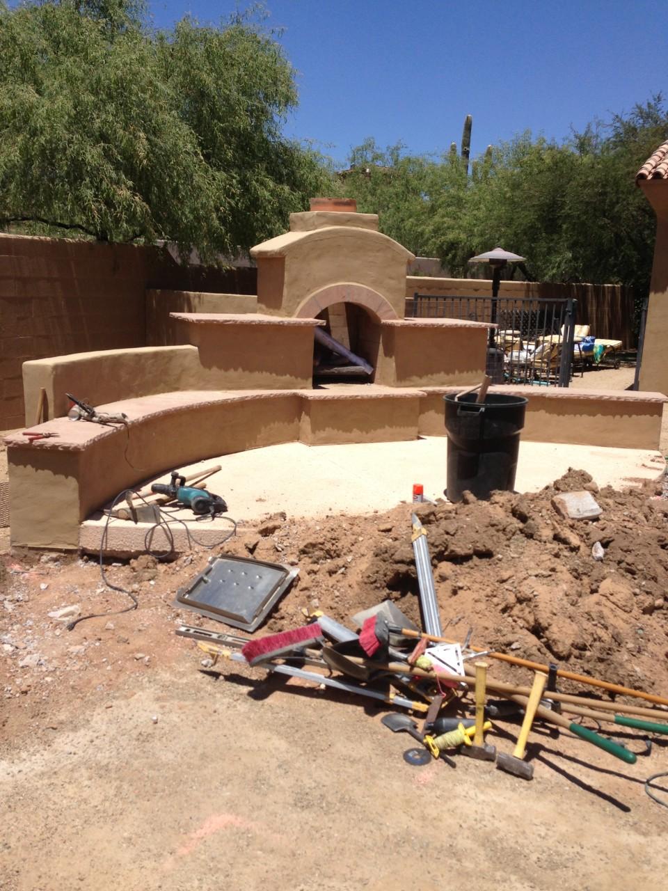 Scottsdale Backyard Landscape - Before Fireplace Renovation