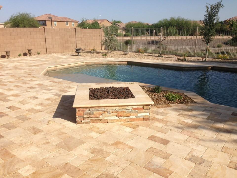 Arizona backyard landscape pavers & fire pit