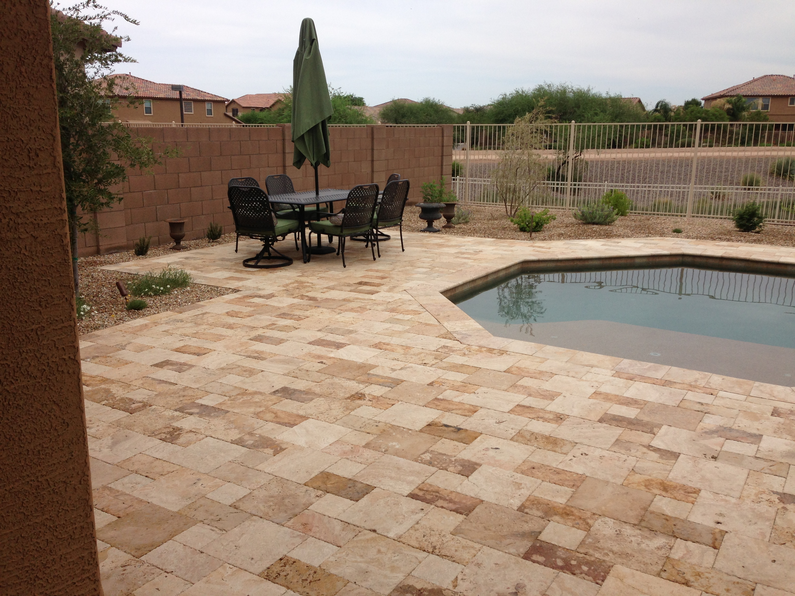 Landscape paver pool deck
