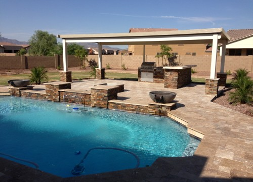 Phoenix landscaping designs outdoor kitchens and pavers for Pool design az
