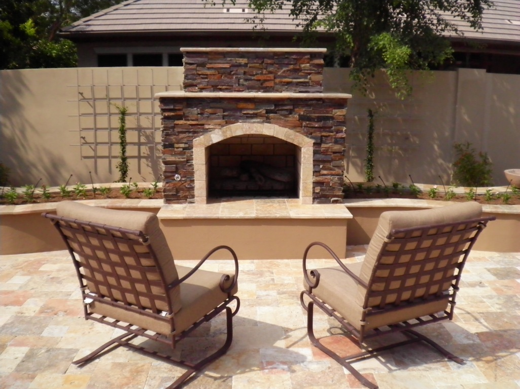 Cozy Up!! Outdoor Fireplaces In Arizona Landscape Designs on Fireplace In The Backyard id=67593