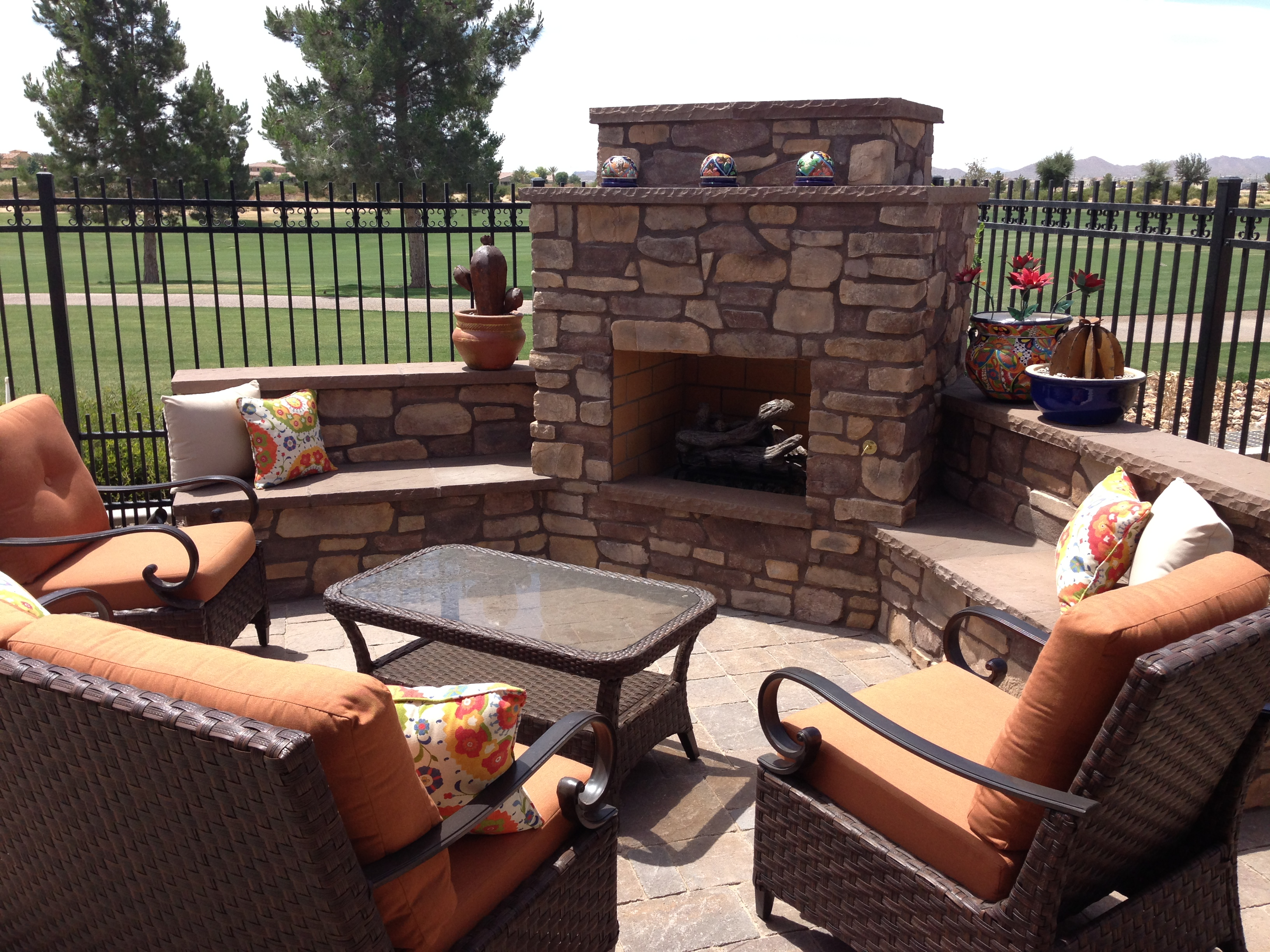 Cozy Up!! Outdoor Fireplaces In Arizona Landscape Designs on Fireplace In The Backyard id=24202