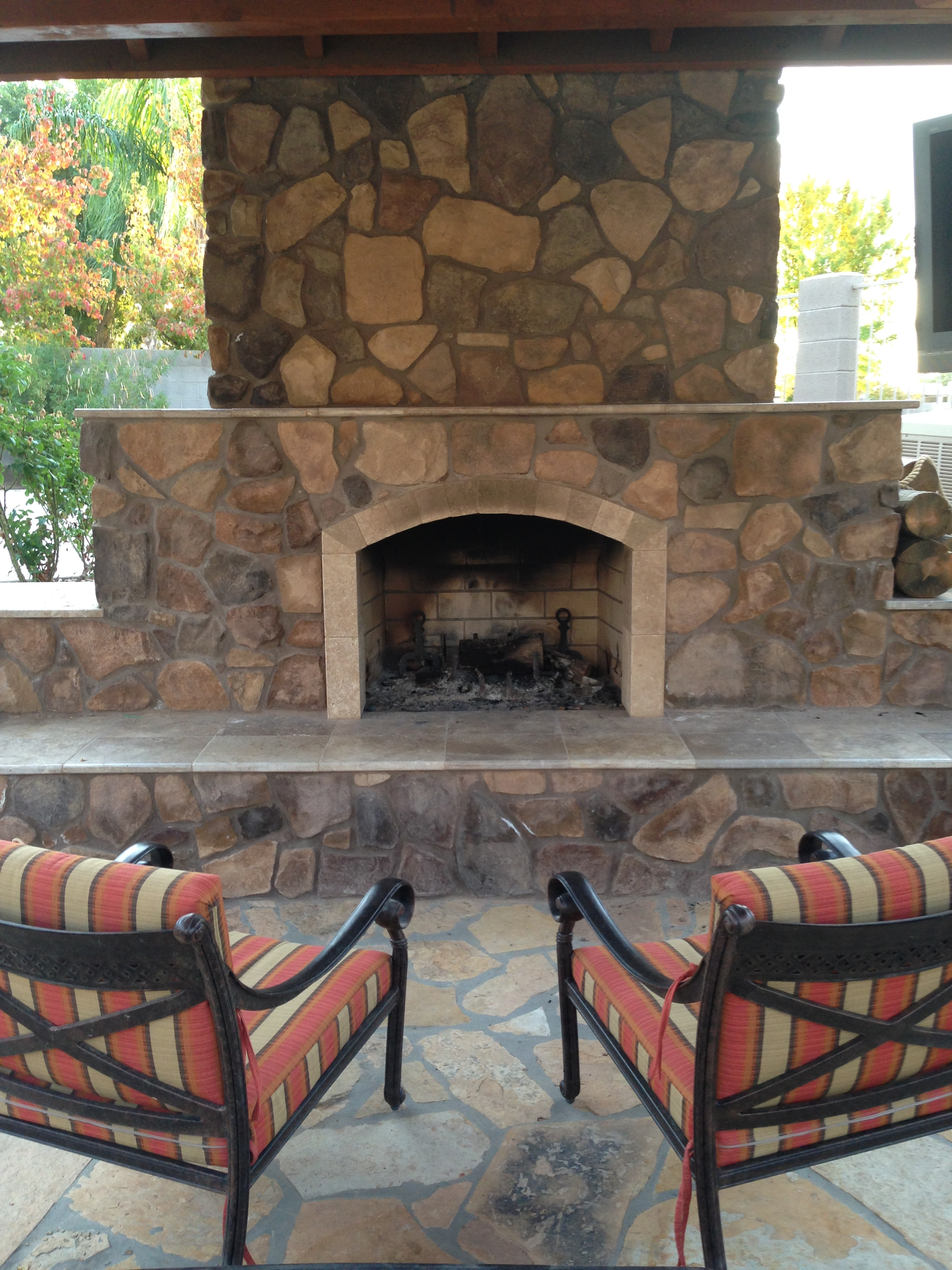 Cozy Up!! Outdoor Fireplaces In Arizona Landscape Designs on Fireplace In Yard id=99200